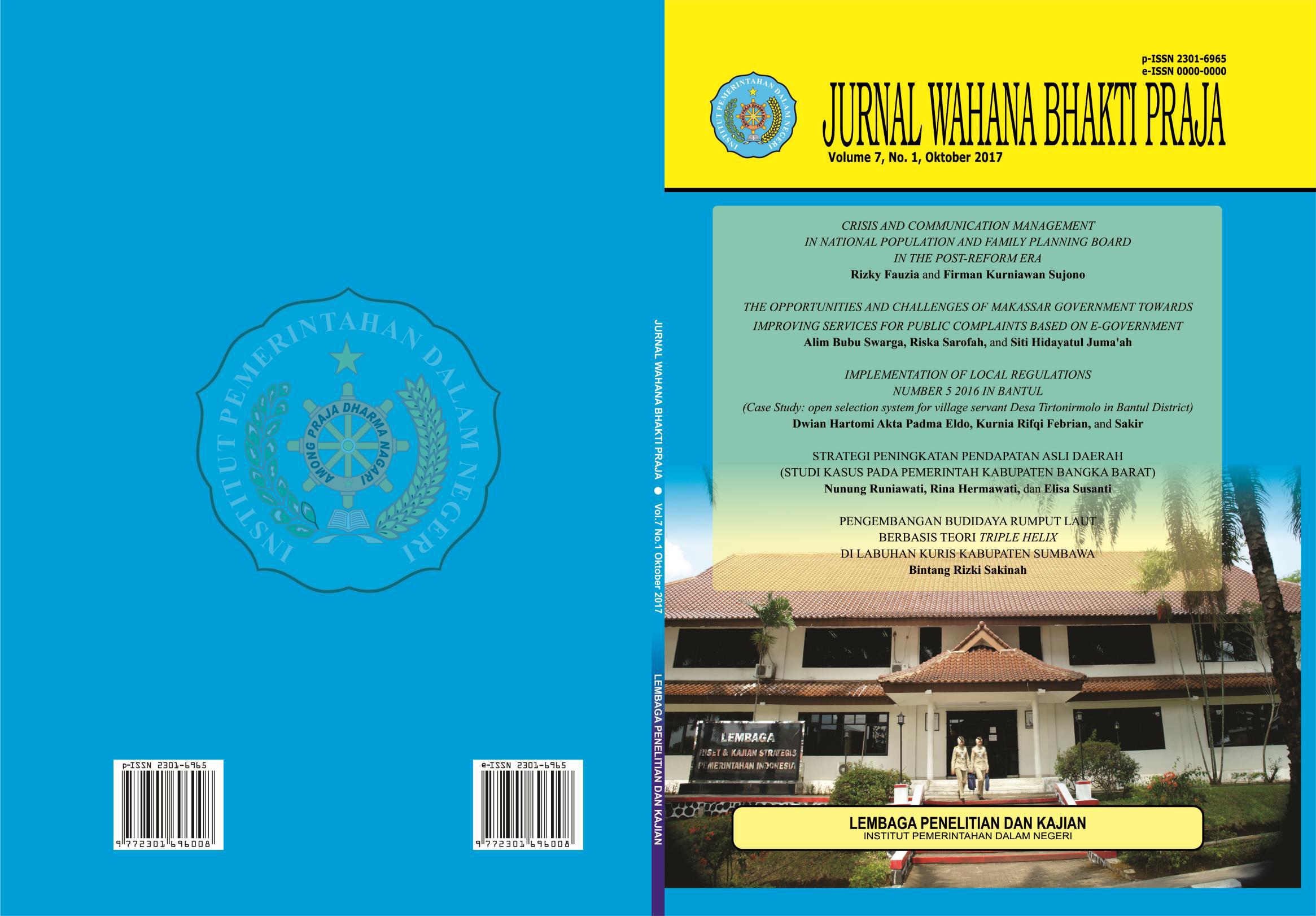 Strategi Peningkatan Pendapatan Asli Daerah Studi Kasus Pada Pemerintah Kabupaten Bangka Barat Jurnal Ilmiah Wahana Bhakti Praja